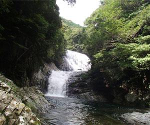 写真:マイナスイオンいっぱいの雫の滝